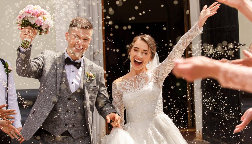 Bruidspaar conffeti