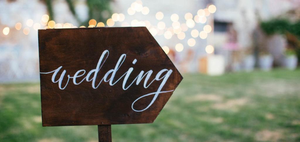Wedding bordje lampjes